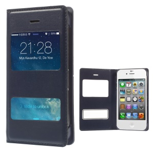 Dark Blue Double Window PU Leather Case for iPhone 4 4s