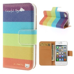 Colorful Stripes Leather Wallet Stand Case for iPhone 4s 4