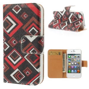 Psychedelic Square Leather Wallet Stand Case for iPhone 4s 4