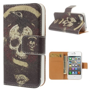 Horrible Skull Leather Wallet Stand Cover for iPhone 4s 4