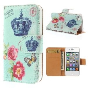 Crown & Flower for iPhone 4s 4 Leather Wallet Stand Protective Case