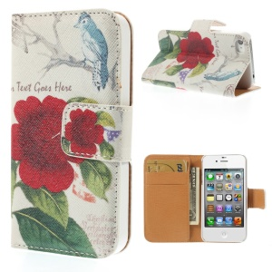 Red Flower & Bird for iPhone 4s 4 Leather Wallet Stand Protective Case