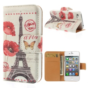 Eiffel Tower & Blossom for iPhone 4s 4 Leather Wallet Stand Phone Case