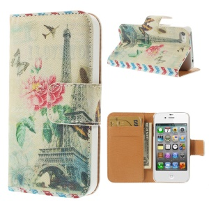 Eiffel Tower & Butterfly for iPhone 4s 4 Leather Wallet Stand Phone Shell