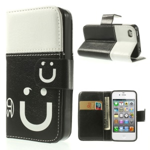 Smiling Face Stitching Leather Wallet Case for iPhone 4s 4 - White / Black