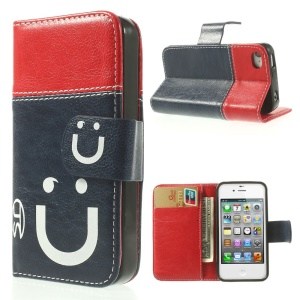 Smiling Face Stitching Leather Wallet Case for iPhone 4s 4 - Red / Dark Blue