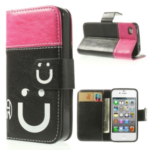 Smiling Face Stitching Leather Wallet Case for iPhone 4s 4 - Rose / Black