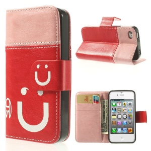Smiling Face Stitching Leather Wallet Cover for iPhone 4s 4 - Pink / Red