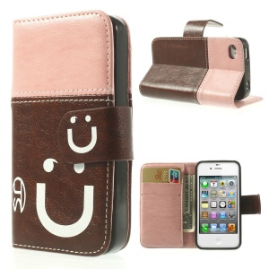 Smiling Face Stitching Leather Wallet Cover for iPhone 4s 4 - Pink / Brown