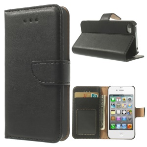 Smooth Leather Wallet Case w/ Stand for iPhone 4s 4 - Black