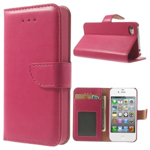 Smooth Leather Wallet Case w/ Stand for iPhone 4s 4 - Rose