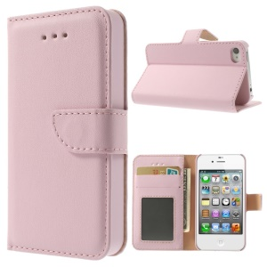 Smooth Leather Wallet Case w/ Stand for iPhone 4s 4 - Pink