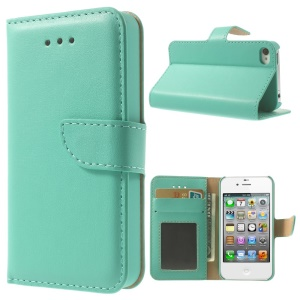 For iPhone 4s 4 Smooth Leather Wallet Cover w/ Stand - Cyan