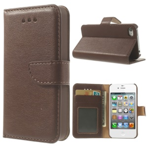 For iPhone 4s 4 Smooth Leather Wallet Cover w/ Stand - Coffee