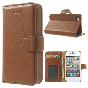 For iPhone 4s 4 Smooth Leather Wallet Cover Shell w/ Stand - Brown
