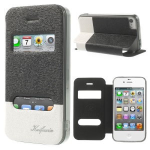 KAIFUXIN Dual View Window PU Leather Stand Case for iPhone 4s 4 - Black