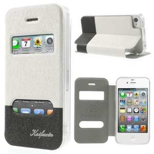 KAIFUXIN Dual View Window PU Leather Stand Case for iPhone 4s 4 - White
