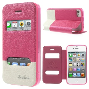 KAIFUXIN Dual View Window PU Leather Stand Case for iPhone 4s 4 - Rose