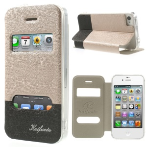 KAIFUXIN for iPhone 4s 4 Dual View Window PU Leather Stand Cover - Champagne