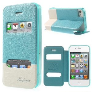 KAIFUXIN for iPhone 4s 4 Dual View Window PU Leather Stand Cover - Blue