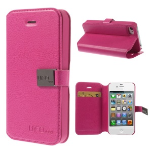 UFO-bag for iPhone 4s 4 Leather Magnetic Flip Stand Case - Rose