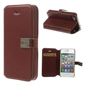 UFO-bag for iPhone 4s 4 Magnetic Flip PU Leather Cover - Brown