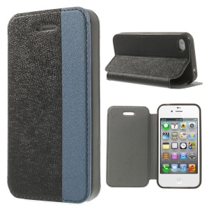 Two-tone Cross Texture Leather Stand Case for iPhone 4s 4 - Black / Blue