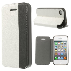 Two-tone Cross Texture Leather Stand Cover for iPhone 4s 4 - White / Black