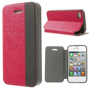 Two-tone Cross Texture Leather Stand Shell for iPhone 4s 4 - Red / Black