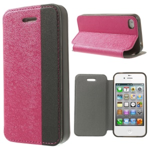 Two-tone Cross Texture Stand Leather Flip Shell for iPhone 4s 4 - Rose / Black