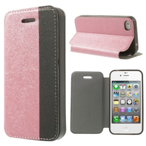 Two-tone Cross Texture Stand Leather Flip Case for iPhone 4s 4 - Pink / Black
