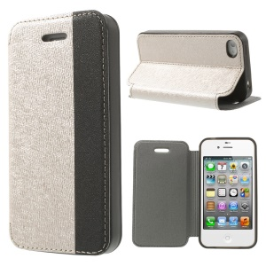 Two-tone Cross Texture Stand Leather Flip Cover for iPhone 4s 4 - Champagne / Black