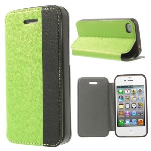 Two-tone Cross Texture Stand Leather Flip Case Cover for iPhone 4s 4 - Green / Black