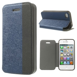 Two-tone Cross Texture Stand Leather Case for iPhone 4s 4 - Blue / Black
