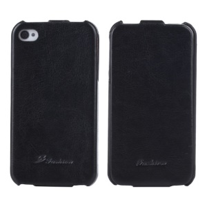 KLX Realize Series Oil Wax Crazy Horse Leather Vertical Flip Case for iPhone 4s 4 - Black
