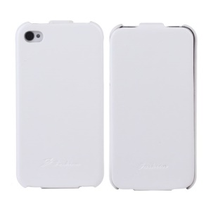 KLX Realize Series Oil Wax Crazy Horse Leather Vertical Flip Cover for iPhone 4s 4 - White