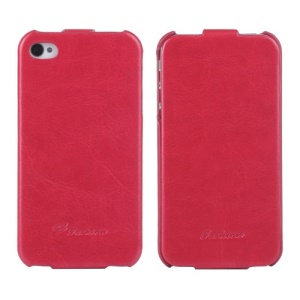 KLX Realize Series Oil Wax Crazy Horse Leather Vertical Flip Shell for iPhone 4s 4 - Red