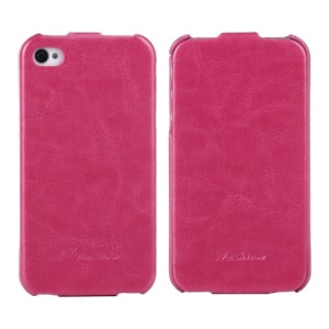 KLX Realize Series Oil Wax Crazy Horse Vertical Flip Leather Case for iPhone 4s 4 - Rose