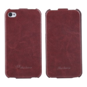 KLX Realize Series Oil Wax Crazy Horse Vertical Flip Leather Cover for iPhone 4s 4 - Brown