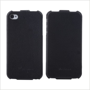 KLX Bingqing Series Litchi Grain Genuine Leather Vertical Flip Case for iPhone 4s 4 - Black