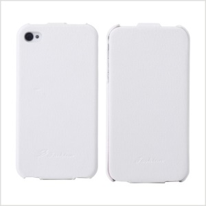 KLX Bingqing Series Litchi Grain Genuine Leather Vertical Flip Case for iPhone 4s 4 - White