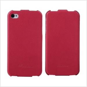KLX Bingqing Series Litchi Grain Genuine Leather Vertical Flip Cover for iPhone 4s 4 - Red