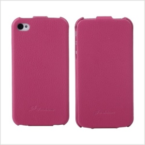 KLX Bingqing Series Litchi Grain Genuine Leather Vertical Flip Cover for iPhone 4s 4 - Rose