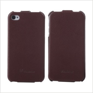 KLX for iPhone 4s 4 Bingqing Series Litchi Grain Genuine Leather Vertical Case Cover - Brown