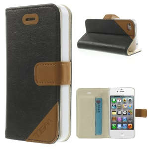 Crazy Horse Leather Card Holder Case w/ Stand for iPhone 4s 4 - Black