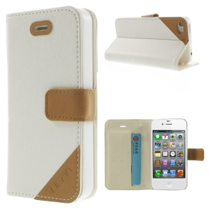 Crazy Horse Leather Card Holder Cover w/ Stand for iPhone 4s 4 - White
