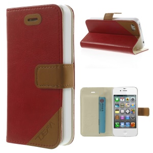 Crazy Horse Leather Card Holder Shell w/ Stand for iPhone 4s 4 - Red