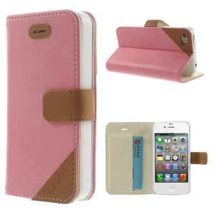 Crazy Horse Leather Card Slot Shell w/ Stand for iPhone 4s 4 - Pink