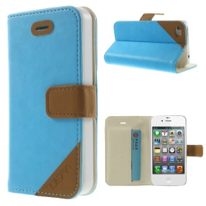 Crazy Horse Leather Card Slot Magnetic Shell w/ Stand for iPhone 4s 4 - Blue