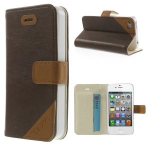 Crazy Horse Leather Card Slot Magnetic Case w/ Stand for iPhone 4s 4 - Coffee